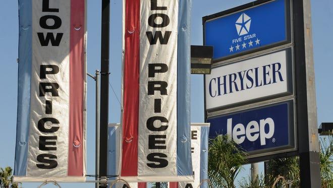 A Chrysler dealer in a 2009 file photo
