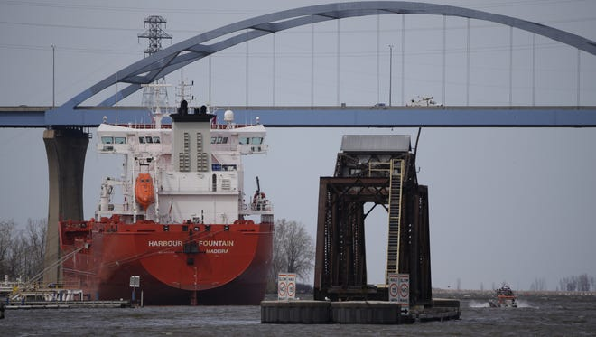 The petroleum freighter Harbour Fountain lies tethered along the Fox River. The port is handling an increased volume of fuel following the shutdown of a pipeline between Milwaukee and Green Bay.