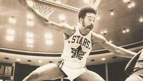 """1973: Willie Wise scored 34 points for the Utah Stars in this American Basketball Association playoff game in April but the former Drake star couldn't deny Indiana from taking a 3-2 series lead. The Pacers went on to win the ABA crown. Wise grabbed a Drake single-season record 343 rebounds (11.4 average) in 1968-69 as the Bulldogs reached the Final Four. He then became a three-time ABA All-Star and helped the Stars win the ABA title in 1971. He averaged 19 points and nine rebounds a game in seven ABA seasons. Sports Illustrated once described him as """"the best two-way performer in pro basketball."""" After the ABA/NBA merger, Wise played for Denver (1976-77) and Seattle (1977). In 1997, Wise was named to the 30-member all-time ABA team. In 2009, Drake retired his No. 42."""