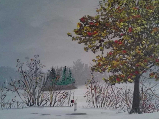 An enchanting snow scene is one of the Chuck Soik paintings