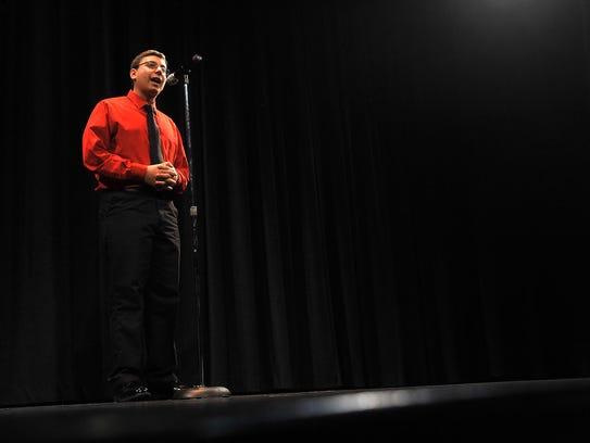 Vineland High School junior Frank DiGiorgio Jr recites