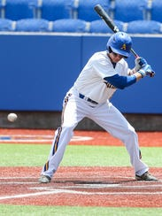 Angelo State's Nick Novak went 5-for-6 with six RBIs in a 14-6 win on the road against West Texas A&M on Friday, March 16, 2018.