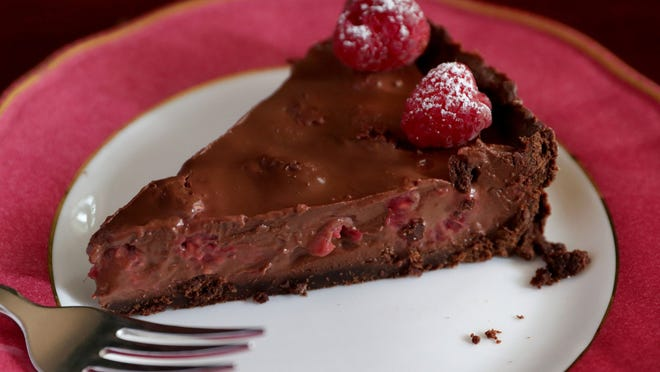Raspberry and Chocolate Tart with cocoa powder crust melts in your mouth.
