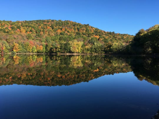 Scarlet Oak Pond is shown from the Vista Loop Trail at Ramapo Reservation.