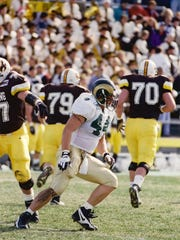 The No. 44 has been worn by a number of stalwart defensive stars at CSU over the years. Sean Moran sports the number in this file photo.