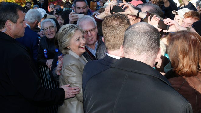 Presidential candidate Hillary Rodham Clinton greets supporters after voting at the Grafflin Elementary School in Chappaqua on Nov. 8, 2016.
