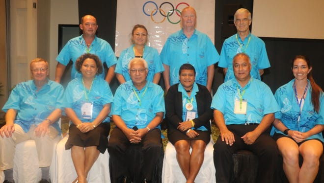 Members of the newly elected Oceania National Olympic Committee. Back row from left: Antoine Boudier, Mel Donald, Jim Tobin, Barry Maister. Front from left: John Coates, Auvita Rapilla, Robin Mitchell, Baklai Temengil, Ricardo Blas, Sarah Walker.