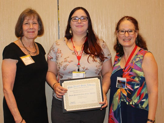 (Left to right) Mary Chute, NJ State Librarian;Jacklene Oakes, South Plainfield Children's Librarian;and Sharon Rawlins, NJ State Library Youth Service Consultant.