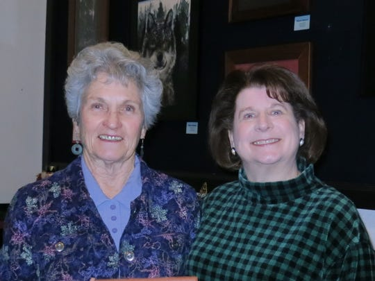 "Janet Buzzini (left) and Nancy Querus, both of Redding, attend the comedy play ""The Game's Afoot: Holmes for the Holidays"" on Jan. 22 at the Riverfront Playhouse in Redding."