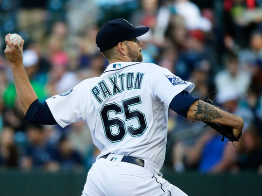 Seattle Mariners starting pitcher James Paxton throws to a Detroit Tigers batter during the second inning of a baseball game, Wednesday, June 21, 2017, in Seattle. (AP Photo/Ted S. Warren)