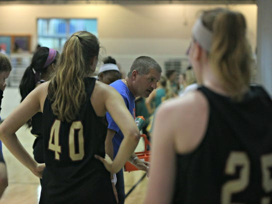 Riverdale coach Randy Coffman talks to players during