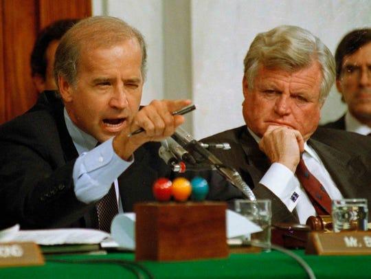 In this Oct. 12, 1991, file photo, Joe Biden, then