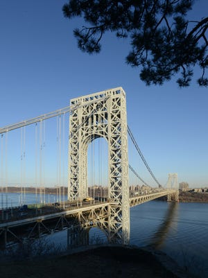 The George Washington Bridge, looking east from Fort Lee Historic Park.