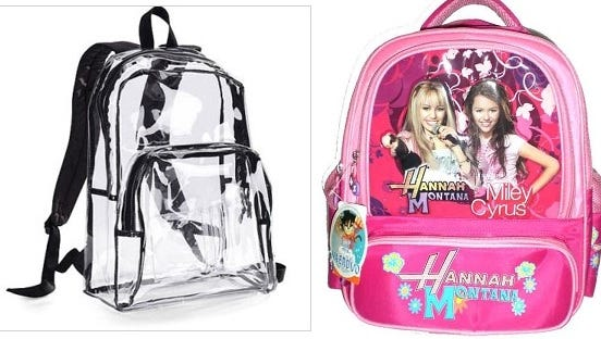 Elementary school students in Harrison County must use the backpack on the left. The one on the right would be illegal.