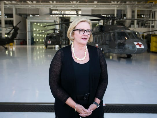 U.S. Sen. Claire McCaskill speaks after a tour of the