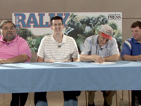 Joe Adelizzi (left) during a taping of The Rally Roundtable