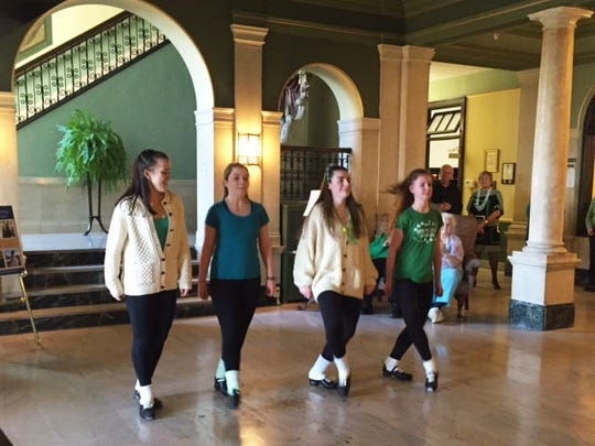 Mount Saint Mary Academy students, pictured, left to right: Brianna Miller of Somerset, Kaitlin McCarthy of Warren, Rionach McEwen of Scotch Plains, and Erin Brennan of Piscataway, perform an assortment of Irish step dances for the Sisters of Mercy as well as other members of the school community during the event.