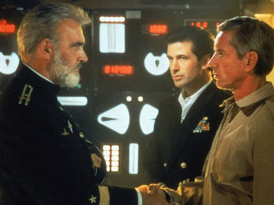 "Engage the silent drive: Sean Connery, left, played a Soviet submarine captain who defected with his nuclear vessel in ""The Hunt for Red October."" Connery here is with Alec Baldwin, center, and Scott Glenn, right.)"
