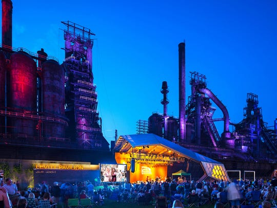 Levitt Pavilion SteelStacks opened in 2011 as a rebirth of Bethlehem, Pennsylvania's former steel mill. The stage sits at the base of dormant blast furnaces.