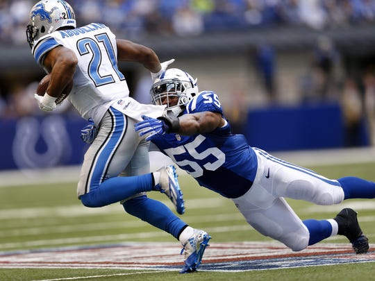 Sio Moore (55) led the Colts in tackles through four games, but was released   Tuesday.