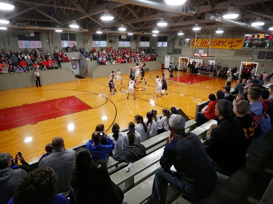 Tipoff as Harrison takes on Southmont in the Husker Classic at the Hoosier Gym Saturday, January 28, 2017, in Knightstown. Harrison pounded Southmont 96-70.