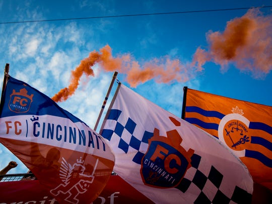 The Bailey celebrates FC Cincinnati's Andrew Wiedeman