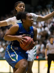 FGCU's China Dow drives the ball in the second half of action during the Atlantic Sun championship game at the Edmunds Center Sunday, March 12, 2017 in DeLand, Fla. FGCU would win 77-70 to take home the tournament title and an automatic berth to the NCAA tournament.