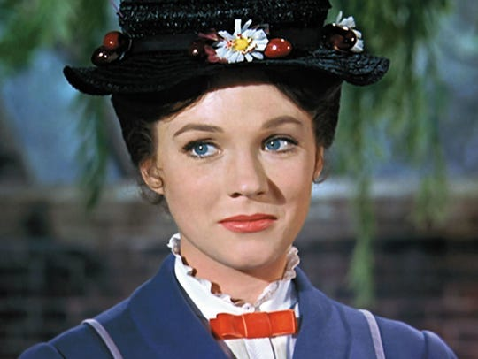"Best Actress Oscar winner and magical nanny Julie Andrews in ""Mary Poppins."""