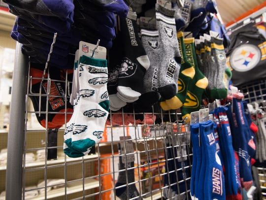 Few Philadelphia Eagles socks left for sale at Fenwick