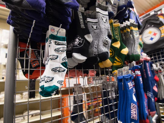 Few Philadelphia Eagles socks left for sale at Fenwick Island Hardware.