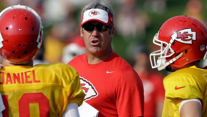 Doug Pederson, seen here as the Kansas City Chiefs offensive coordinator, has been hired as the new head coach of the Philadelphia Eagles.