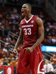 Dec 17, 2016; Houston, TX, USA; Arkansas Razorbacks forward Moses Kingsley (33) reacts after a play during the second half against the Texas Longhorns at Toyota Center. Mandatory Credit: Troy Taormina-USA TODAY Sports