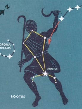 """This star chart shows Corona Borealis the Northern Crown, next to Bootes the Herdsman. The Big Dipper """"handle"""" is at upper right."""