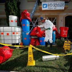 Ebola-themed Halloween decorations in University Park, Texas.