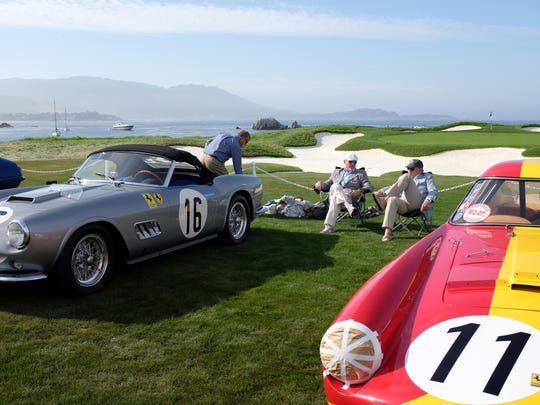 Relaxing among the Ferraris at the 2015 Concours d'Elegance.