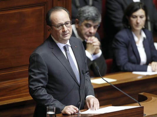 French President Francois Hollande Addresses Both Houses Of Parliament