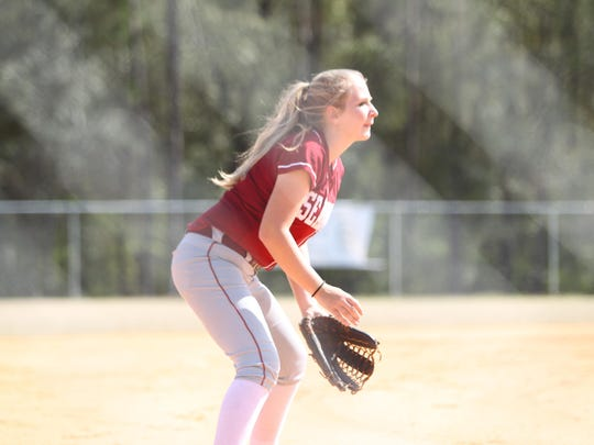 Franklin County junior Megan Collins fields against John Paul II on Wednesday. The Seahawks' softball team is currently 12-7 on the year and in prime position to pick up the school's first district title.