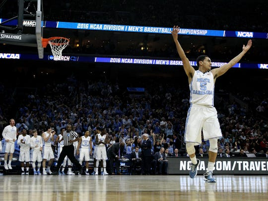 North Carolina's Marcus Paige celebrates during an NCAA tournament game in 2016.
