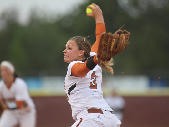 Atlantic Coast pitcher Taylor Bauman settled down after a rocky start to strike out 10 batters in a 7-5 win over Chiles on Wednesday night in a Region 1-8A quarterfinal.