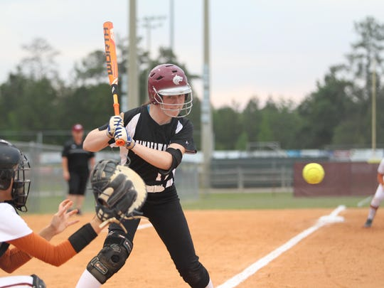 Chiles third baseman Karli Woolington watches an outside pitch as part of two walks she had. Woolington also hit a three-run home run, her 12th of the year, in the first inning of a 7-5 loss to Atlantic Coast on Wednesday in a Region 1-8A quarterfinal.