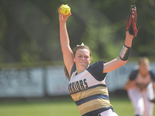 Aucilla Christian sophomore pitcher Abigail Morgan threw four innings of one-hit ball in the Warriors' 10-0 win over Countryside Christian on Tuesday afternoon in a Region 1-2A softball.