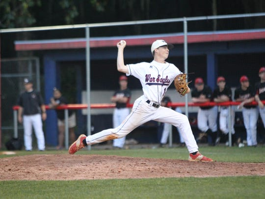 Wakulla's Chase Forester fires a pitch in relief of reliever Greyson Rudd during Wednesday's 6-5 loss to West Florida in a Region 1-6A quarterfinal.