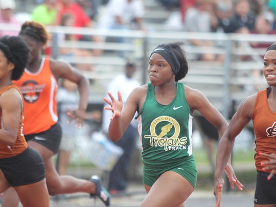 Lincoln's Shantel Ardley finished second in the 100-meter dash in Region 1-3A.