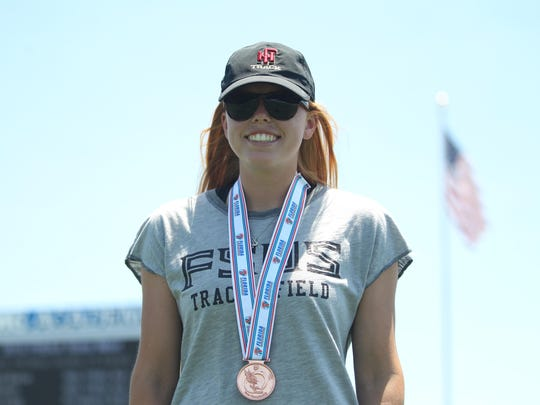 Florida High junior Kelley Breeden tied for first in the pole vault, hitting 10-06, but she had to settle for a silver medal based upon tiebreakers.