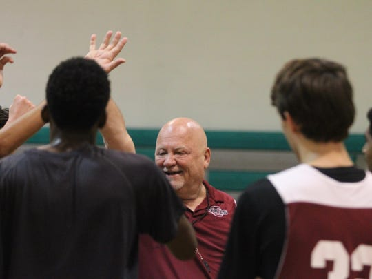 Second-year Chiles boys basketball coach John Langlois coaches his team during a summer practice. Langlois is taking his team Friday by airplane to his home state of New Hampshire to experience basketball and culture.