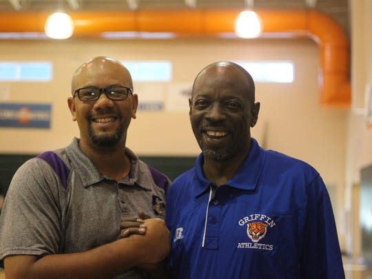 Kendall Randolph, left, with former FAMU High basketball coach Ron Lang. Randolph is now head basketball coach at Cobb Middle School.