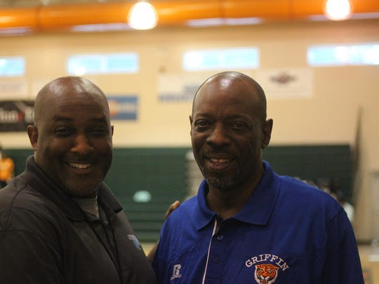 Ron Lang, right, with former FAMU High basketball player Albert Arnold, who is the Dean of Students at Oak Ridge Elementary School and a writer for Source Hoops. Arnold also previously coached Godby High's junior varsity basketball team.