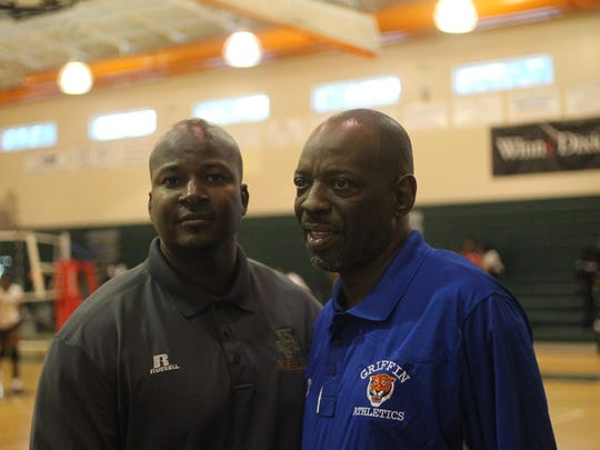 Florida A&M assistant baseball coach Anthony Robinson, left, with former basketball coach Ron Lang. Robinson and Lang won two state titles in the 1990's at FAMU High.