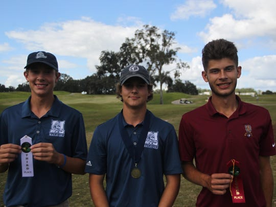 From left to right: Maclay's Spencer Fairfield and Miller Shelfer, and Florida High's Stephen Davis.