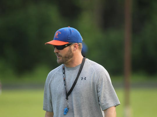 Jefferson County football players practice under the tutelage of former Jefferson County player and coach Blair Armstrong and twin sons Tyson (pictured) and Jason, who have returned home to coach a Tigers program desperate for stability.